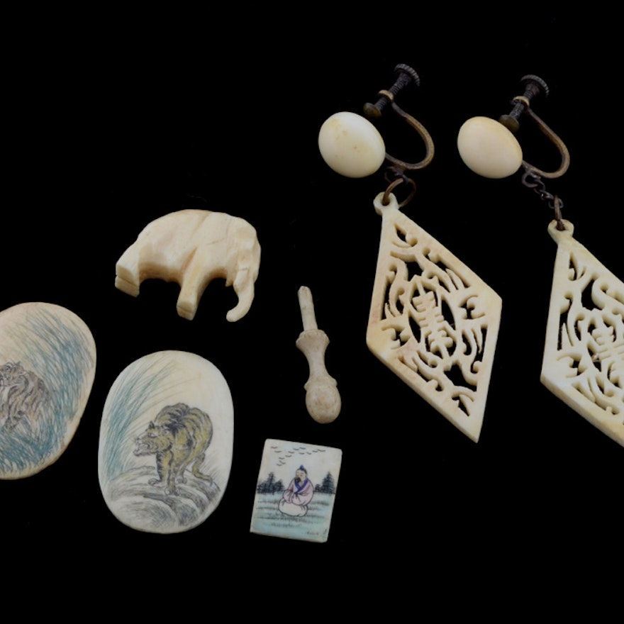 Carved Bone and Ivory Earrings, Game Tiles and More