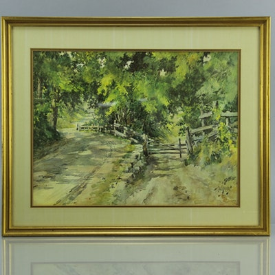 Vintage art prints art print auctions lithographs for sale in paul sawyier a shady lane offset lithograph solutioingenieria Choice Image