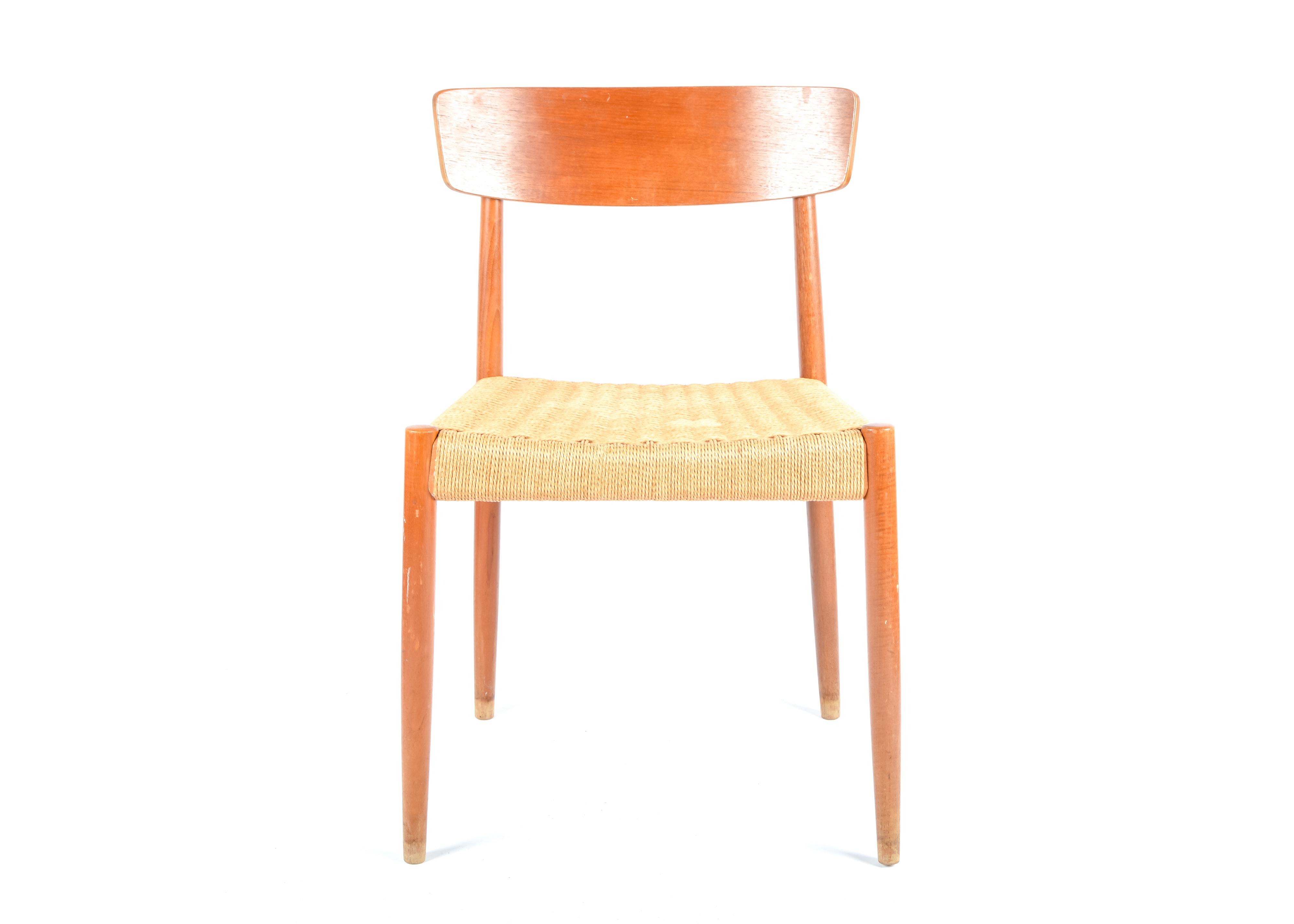 Attirant Vintage Danish Modern Teak And Cord Side Chair