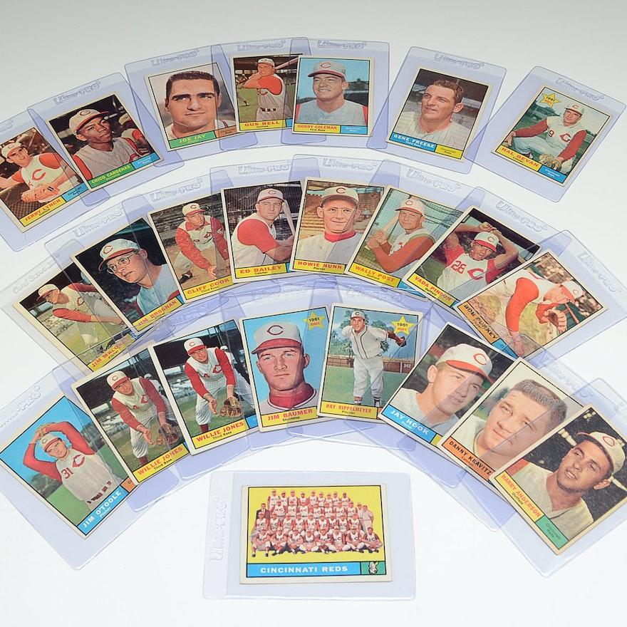 Twenty Four 1961 Reds Player Topps Baseball Cards