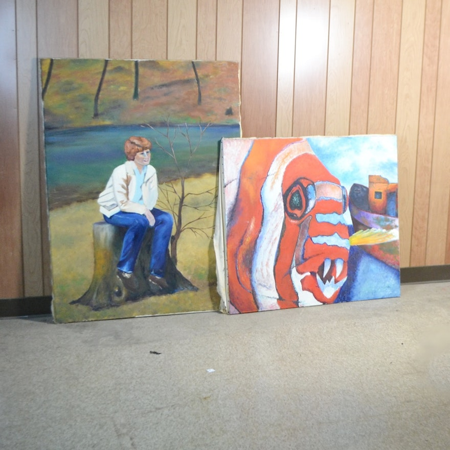 Two Original Oil On Canvas Paintings