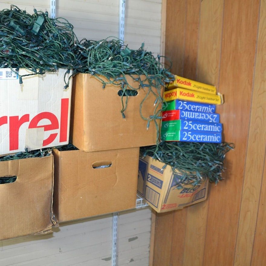 11 Boxes Of Mostly Clear Christmas Lights