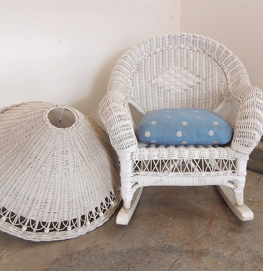 vintage white wicker childs rocking chair lamp shade ebth. Black Bedroom Furniture Sets. Home Design Ideas