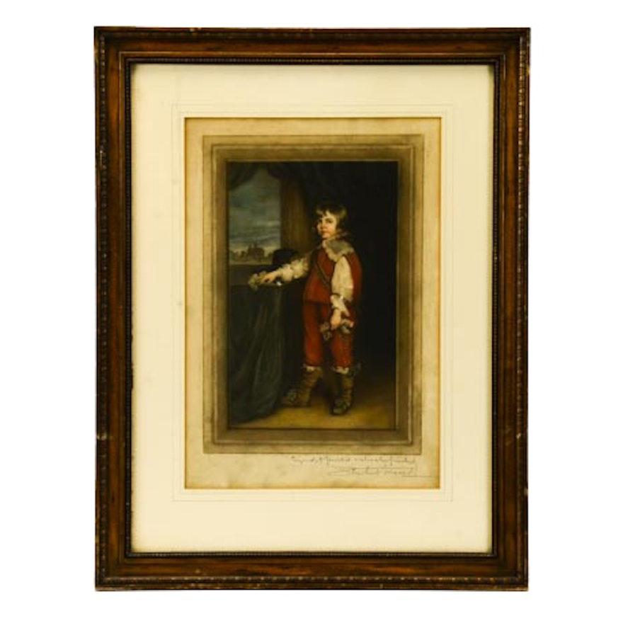 S. Arlent Edwards Mezzotint of a Young Boy