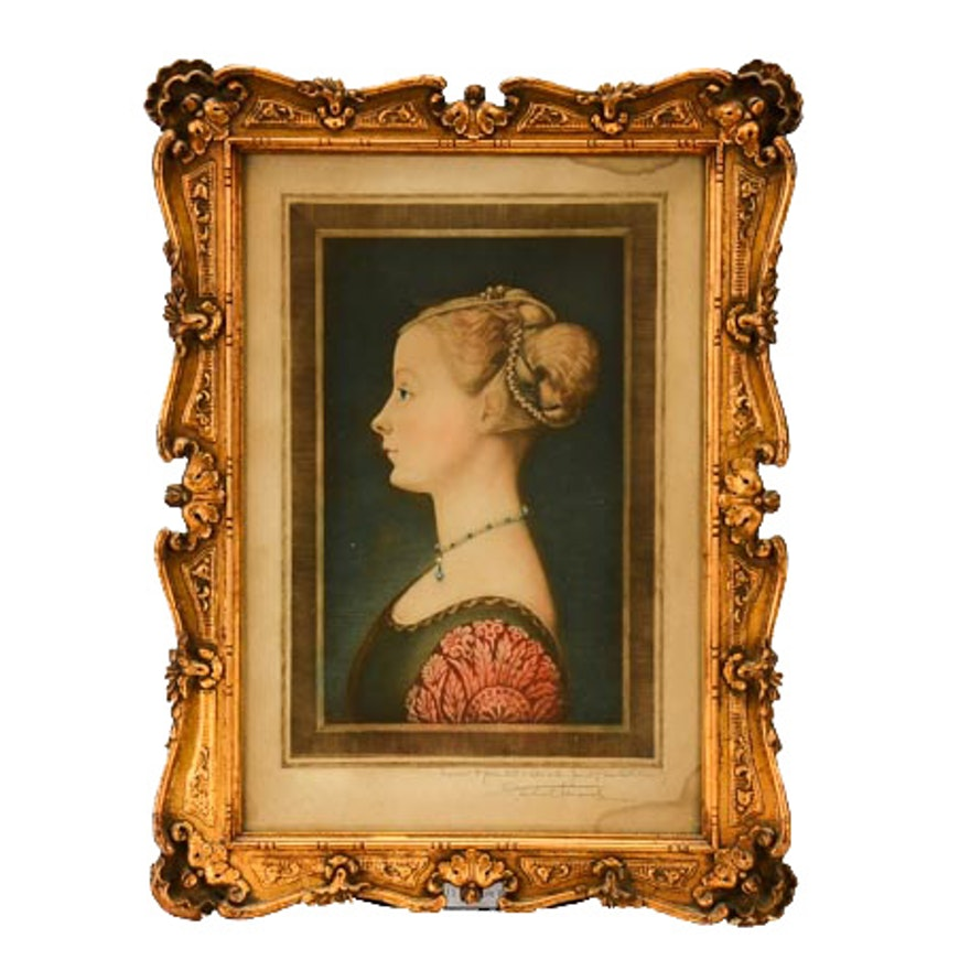 S. Arlent Edwards Mezzotint of Piero della Francesca Portrait