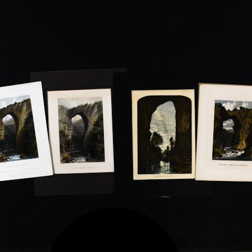 Four Antique Hand-Colored Engravings of Virginia's Natural Bridge