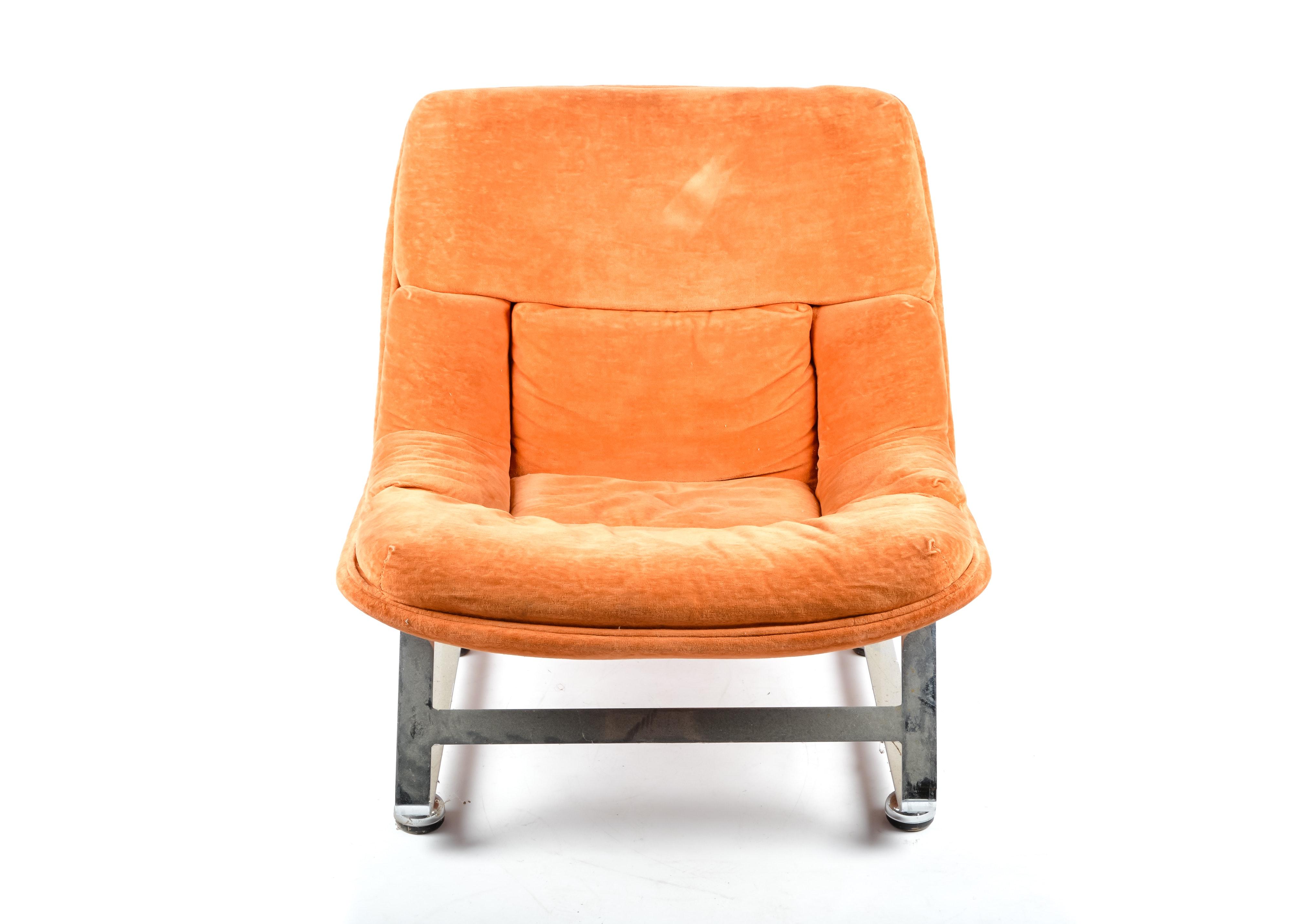 Vintage Tufted Orange Velour Chair on Chrome Base ...  sc 1 st  EBTH.com & Vintage Tufted Orange Velour Chair on Chrome Base : EBTH