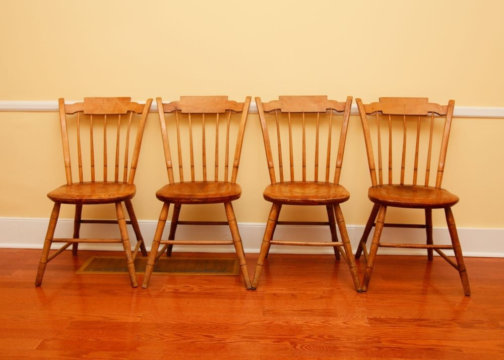 Maple Kitchen Table With Chair And Bench Ebth: Four Antique Maple Chairs By Conant Ball