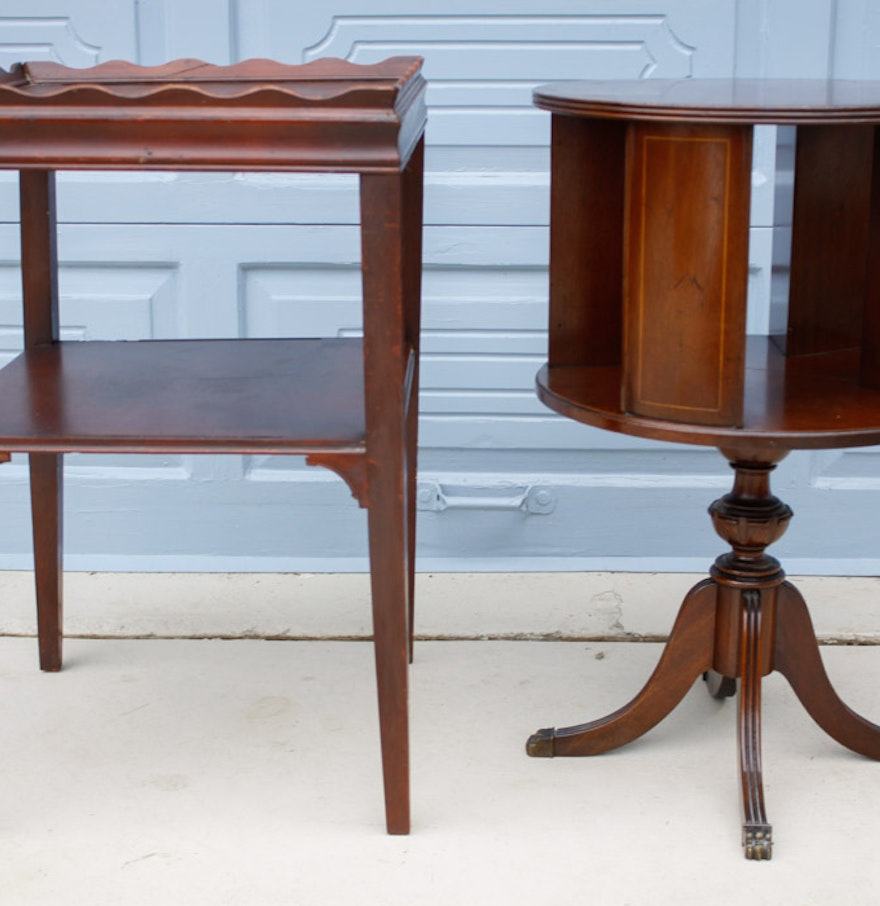 Revolving bookcase drum table and square mahogany side for Revolving end table