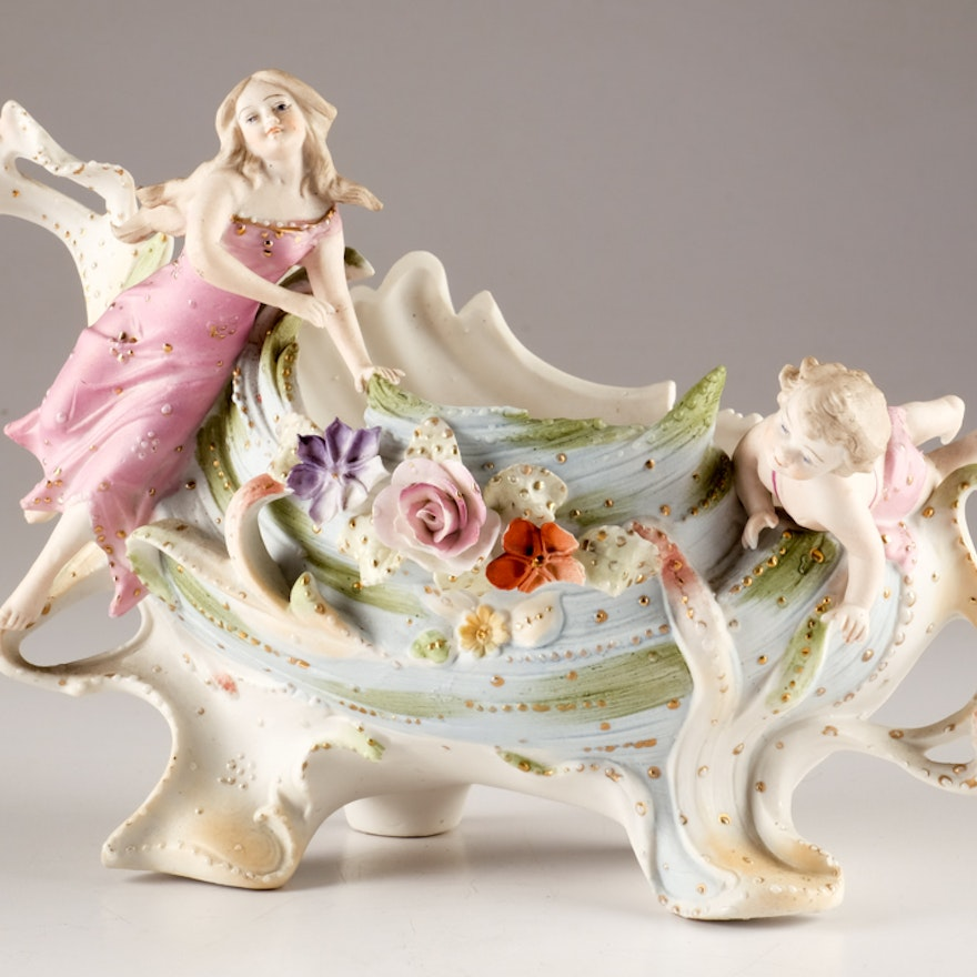 Vintage Bisque Cachet with Nymph and Putti