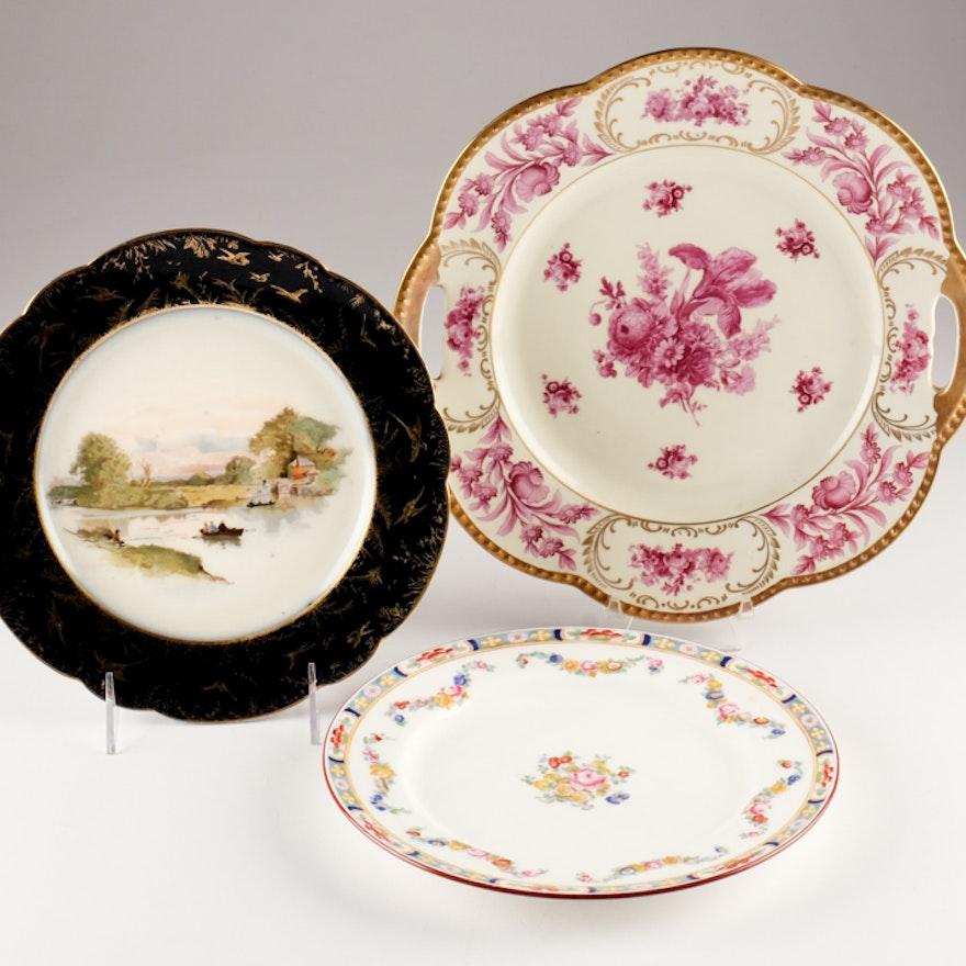 Assortment of Three Porcelain Plates