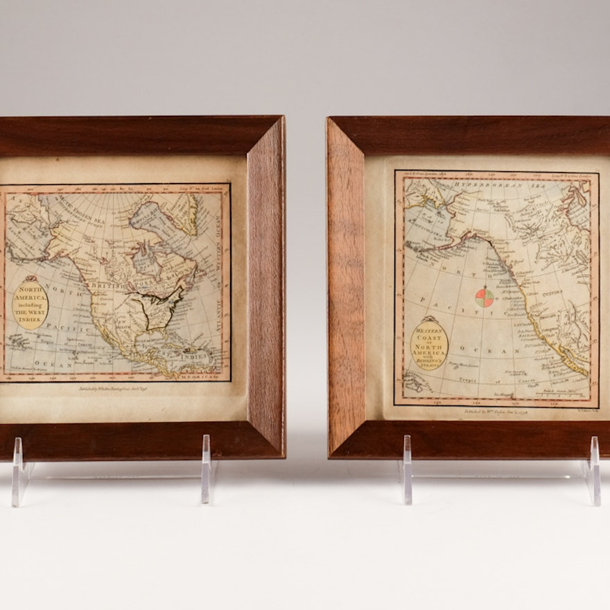 Pair of Small Framed 1798 William Faden Maps of North America