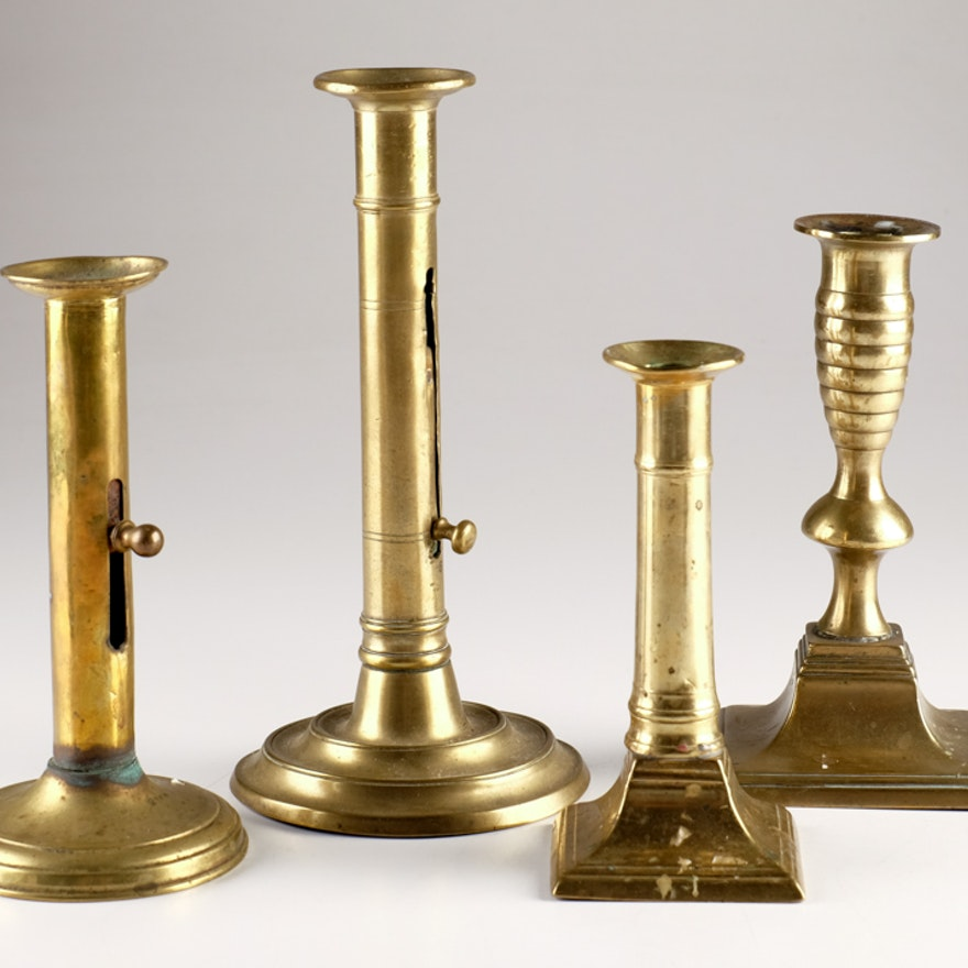 Group of Four 19th Century Brass Candlesticks