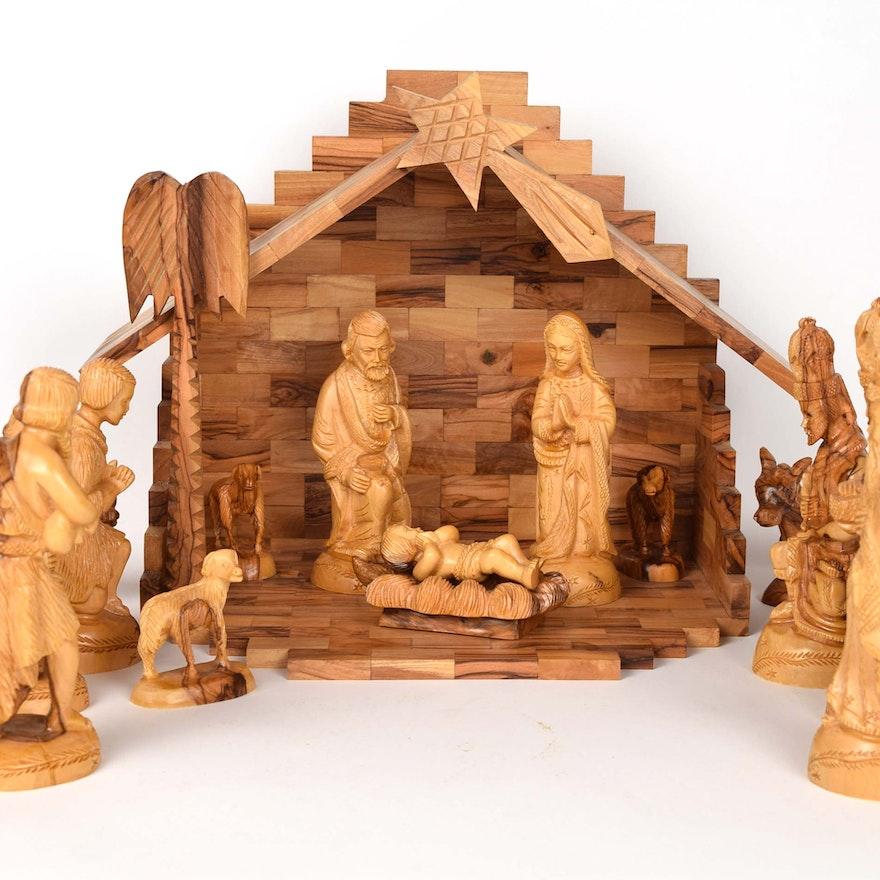 Hand Carved Olive Wood Nativity Set