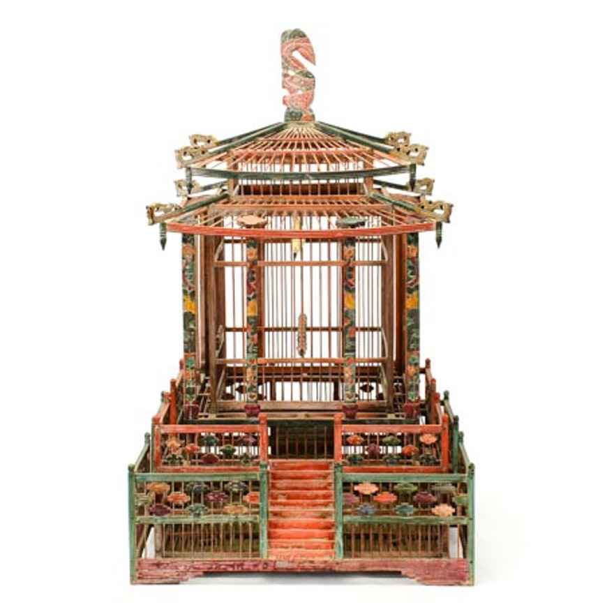 Chinese Polychromed Temple Bird Cage
