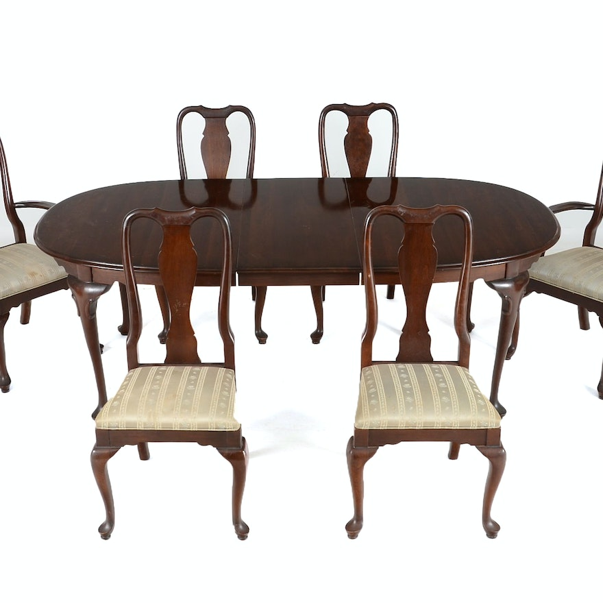 Cherry Queen Anne Style Table and Six Chairs