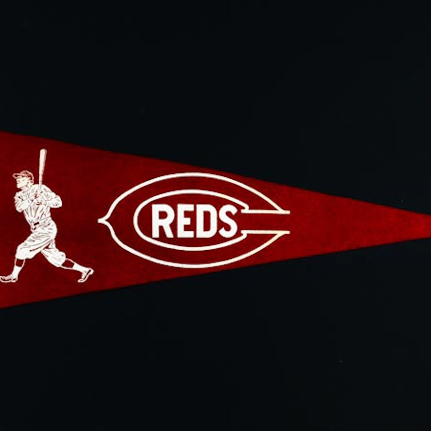 1940s Reds Pennant with Player Graphic