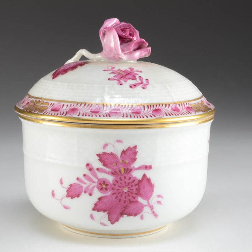 Herend Hungary Hand Painted Rose Finial Sugar Bowl
