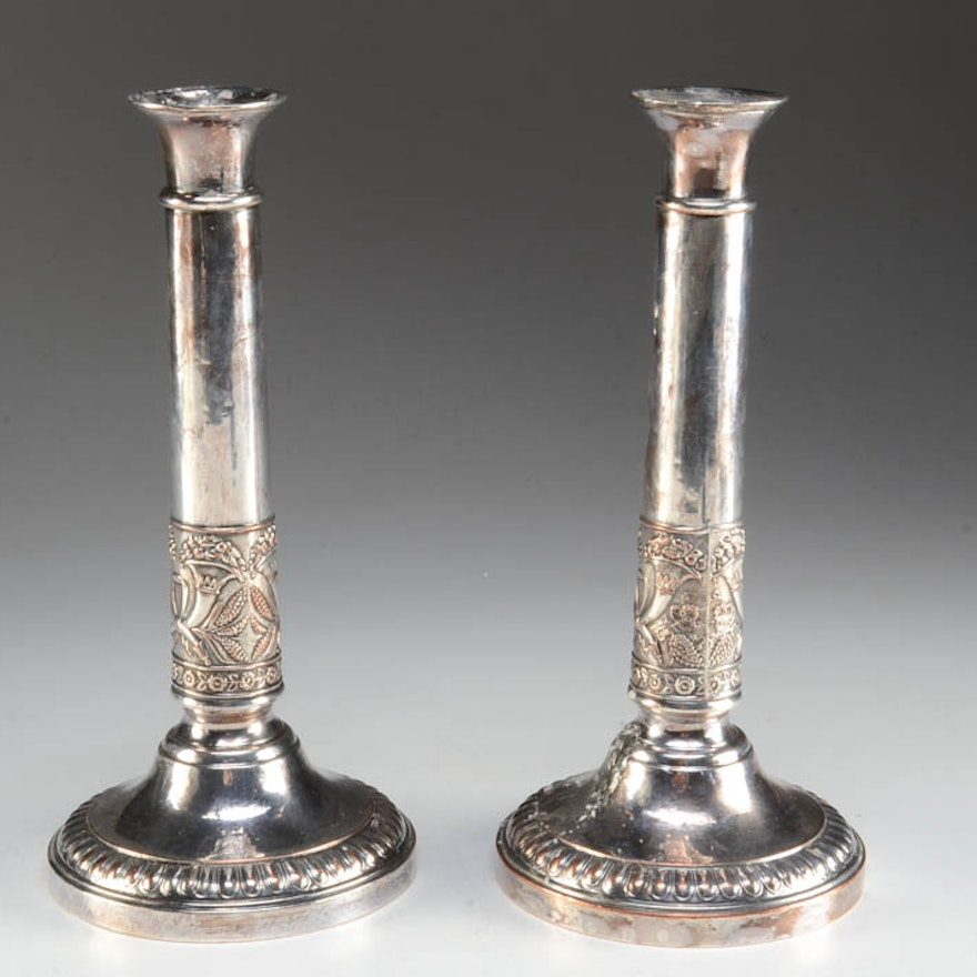Pair of Silver on Copper Candlesticks