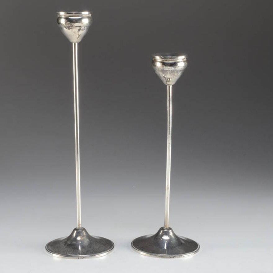 Pair of Sterling Weighted Candle Holders by Duchin Creations