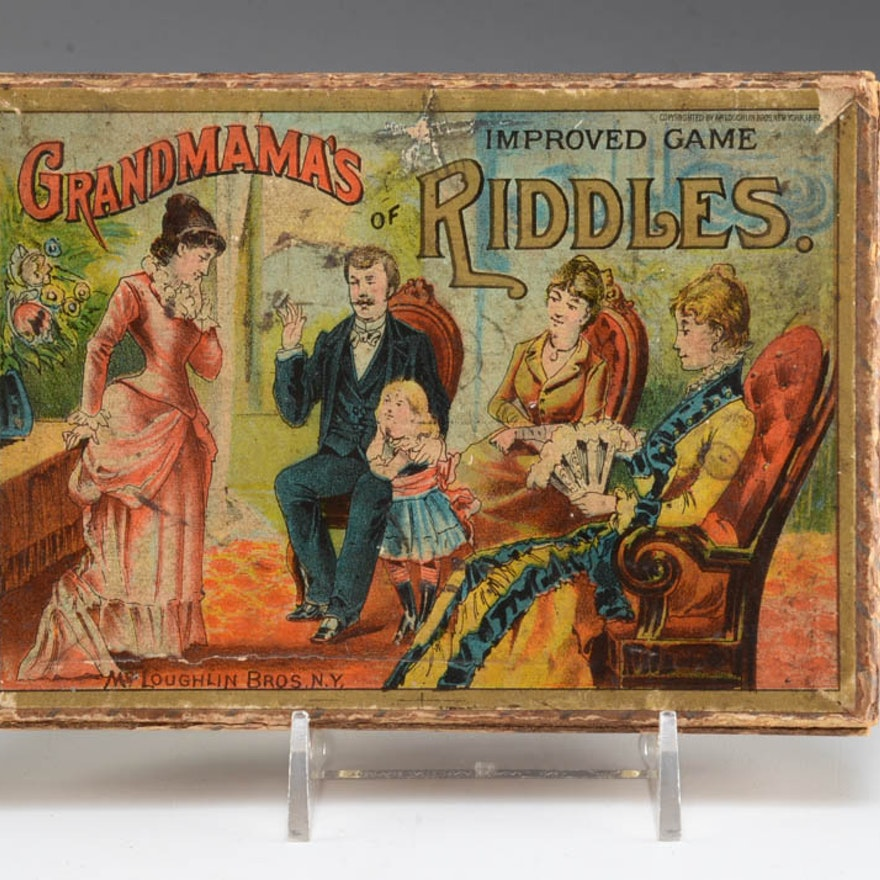 Antique 1887 Grandmama's Improved Game of Riddles Card Game