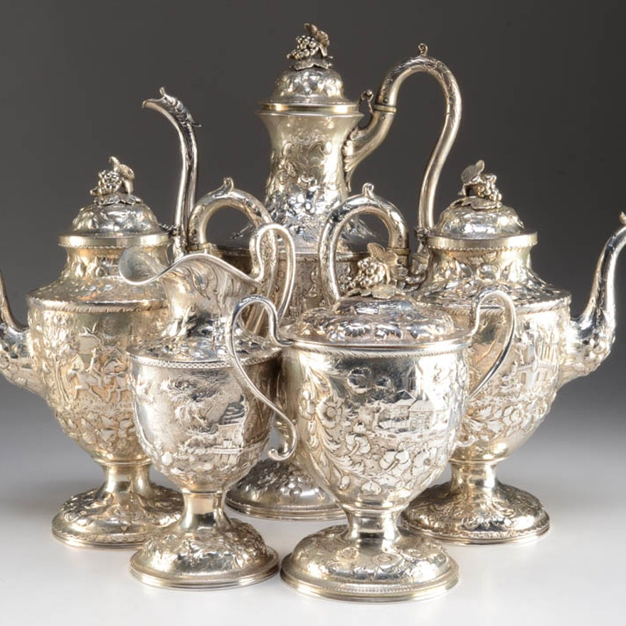 S. Kirk & Son Coin Silver Repoussé Tea and Coffee Set