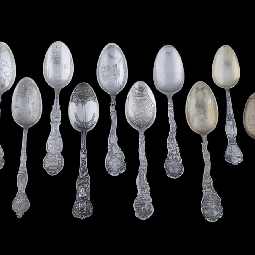 Ten Sterling Silver State Souvenir Spoons