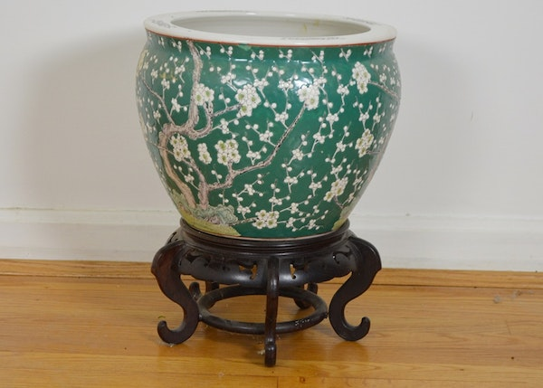 Chinese fish bowl planter and stand ebth for Fish bowl stand