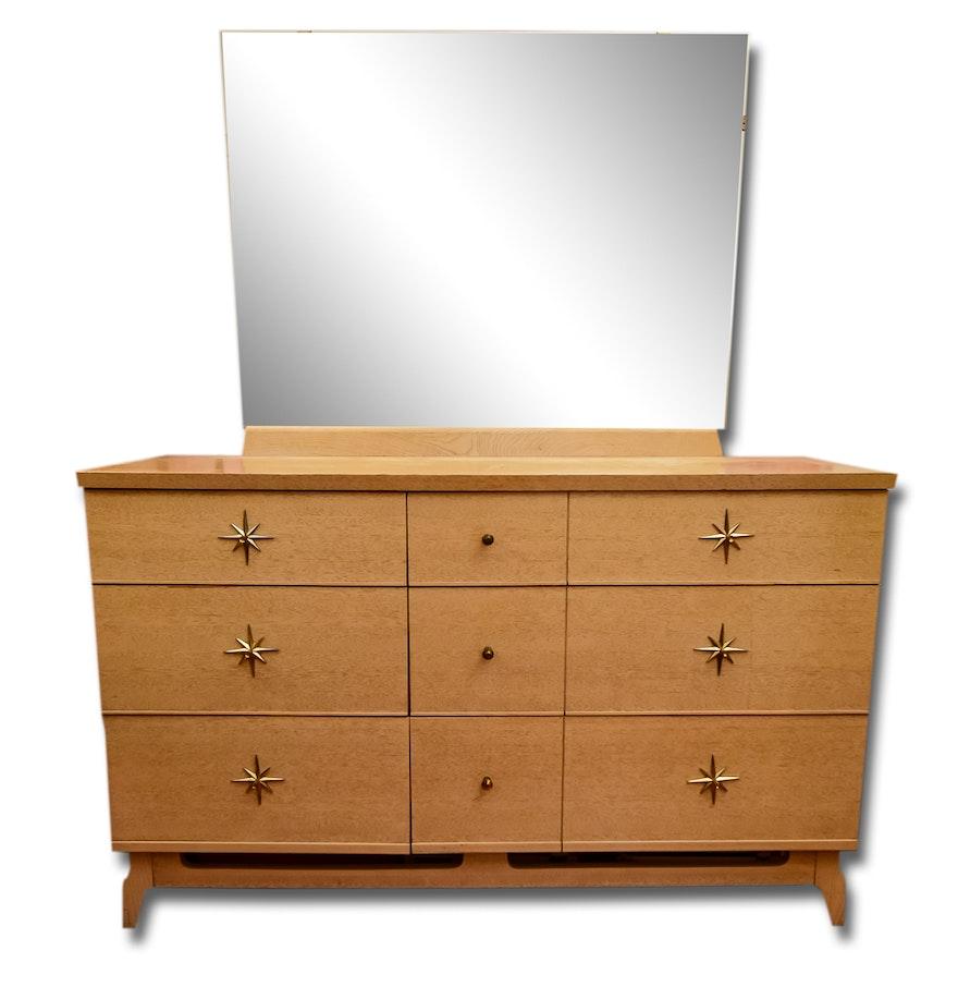 mid century modern stanley dresser with mirror ebth. Black Bedroom Furniture Sets. Home Design Ideas