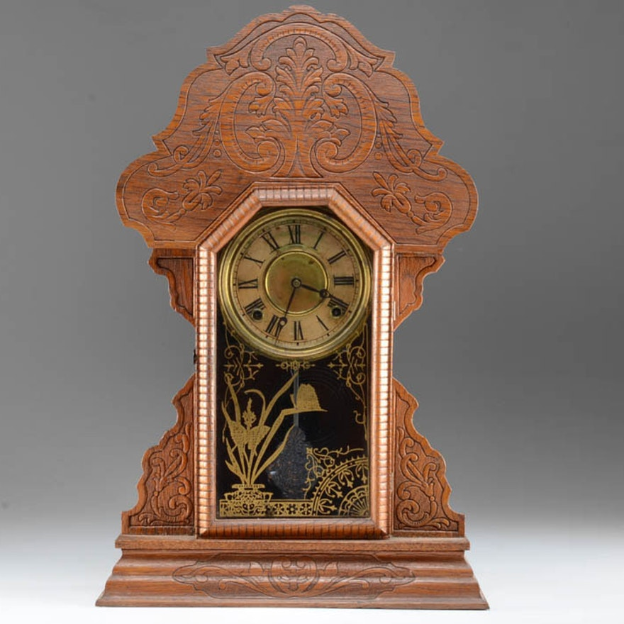Early 20th Century Sessions Pressed Oak Shelf Clock