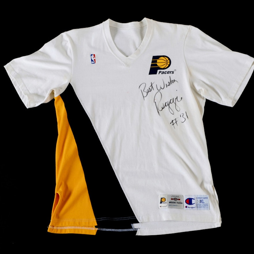 reputable site a8d22 f4b3c Reggie Miller Signed 1994-95 Pacers Warm Up