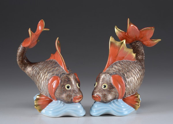 Herend hungary hand painted porcelain koi fish figurines for Koi fish figurines