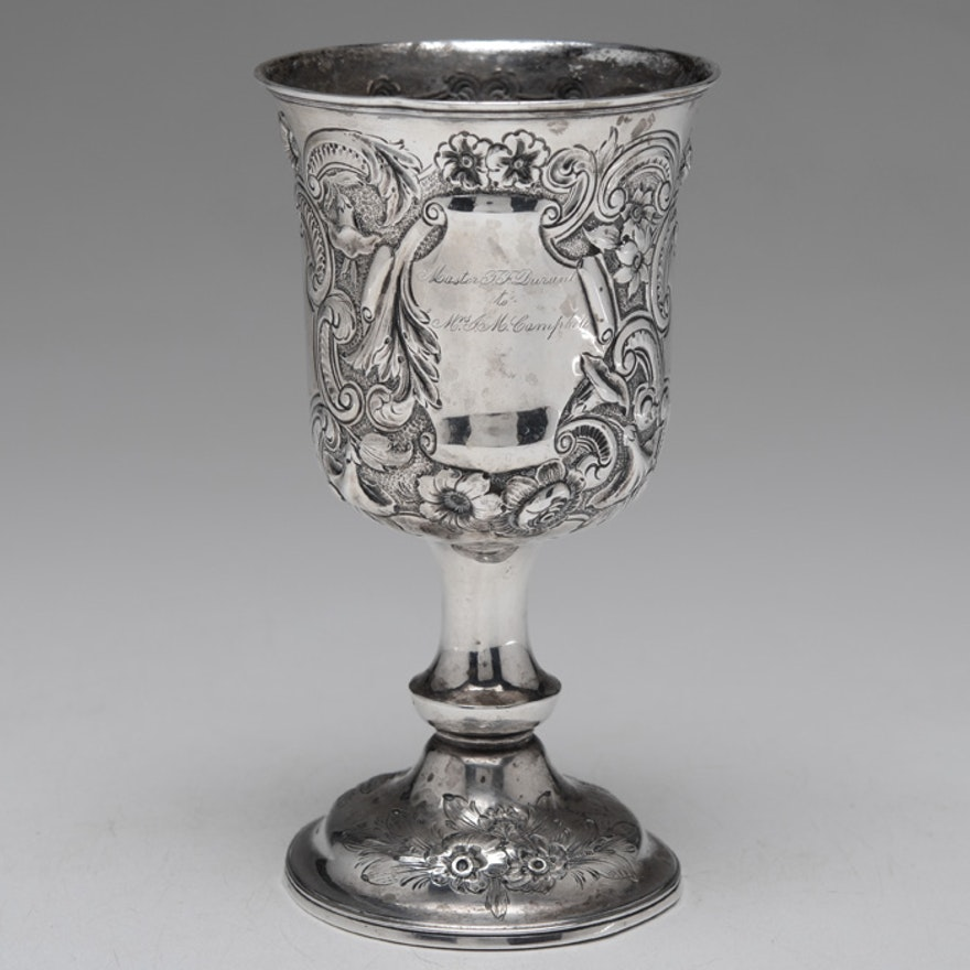 Hood & Tobey 830 Silver Repoussé Goblet