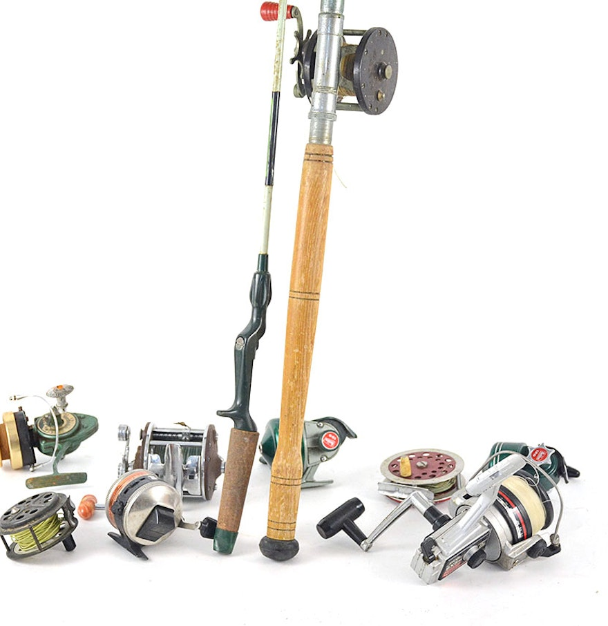Vintage fishing rods and reels ebth for Old fishing rods
