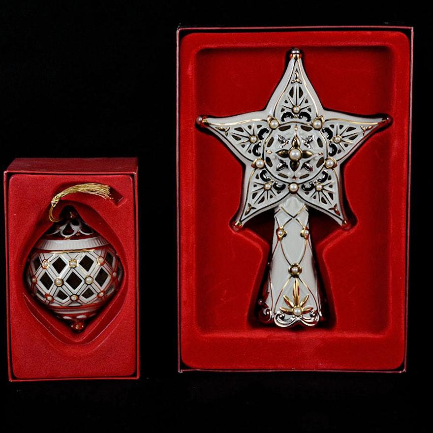 Lenox Porcelain Florentine Star Tree Topper and Christmas Ornament : EBTH - Lenox Porcelain Florentine Star Tree Topper And Christmas Ornament