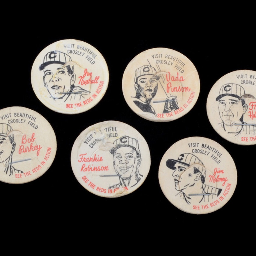 Six 1963 French Bauer Reds Lids