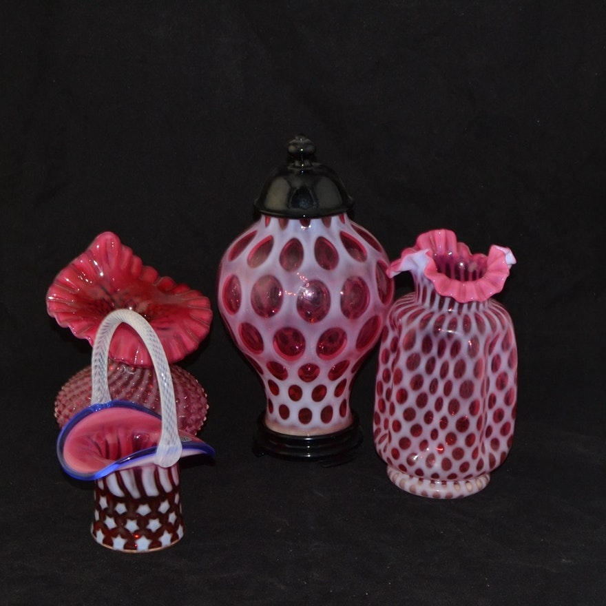 Four Pieces Of Fenton Cranberry Glass Items
