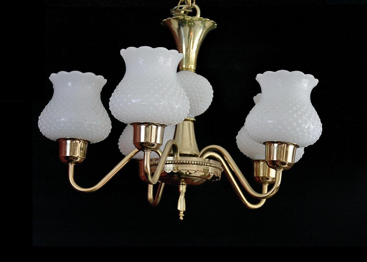 Chandelier with Hobnail Milk Glass Globes EBTH
