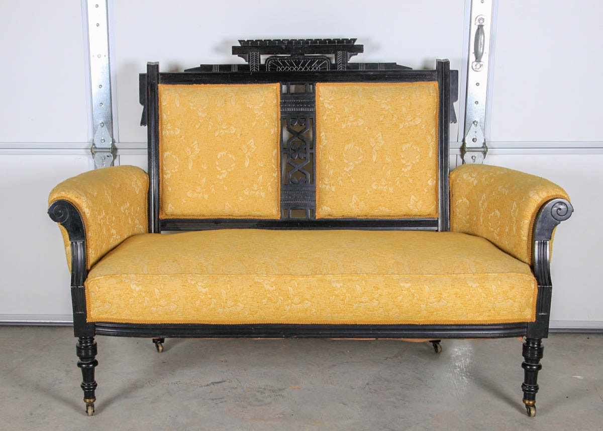 Black Lacquered Eastlake Style Settee
