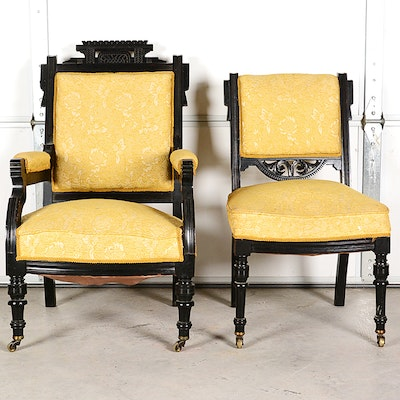 Black Lacquered Eastlake Chairs - Online Furniture Auctions Vintage Furniture Auction Antique
