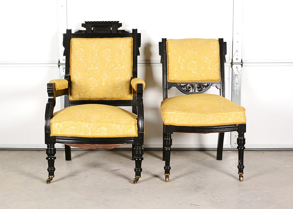Black Lacquered Eastlake Chairs