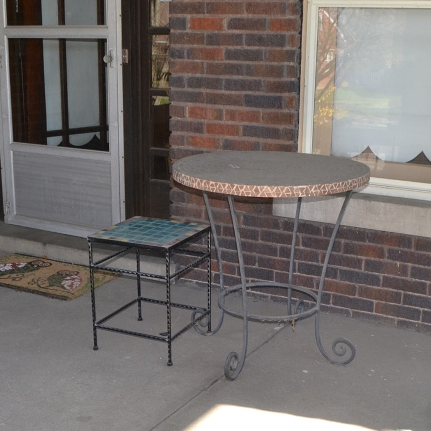 Two Mosaic Tile Tables