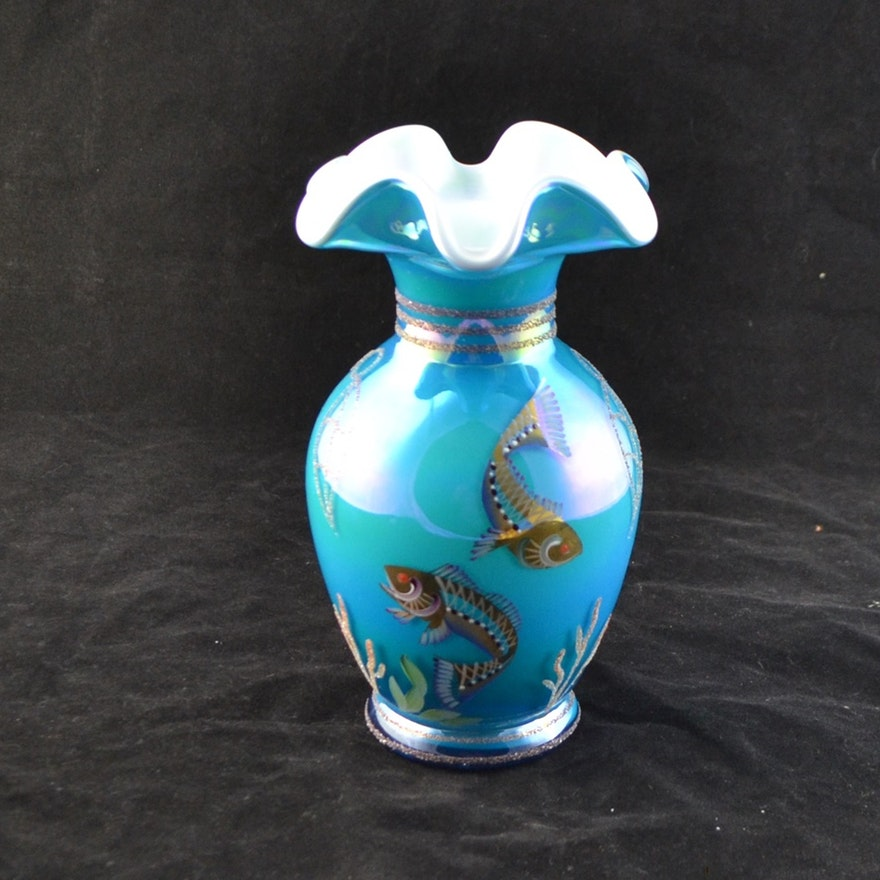 Fenton Designer Showcase Hand Painted Encased Glass Vase Ebth