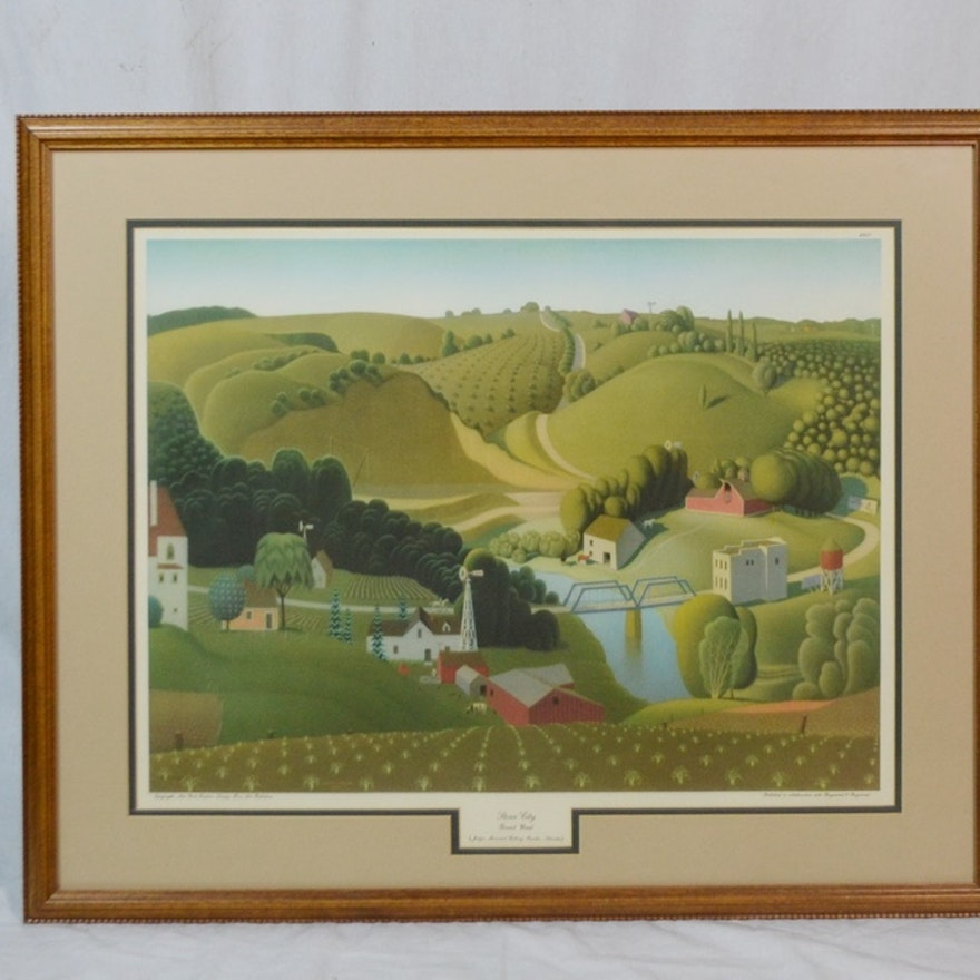 """""""Stone City"""" Offset Lithograph After Listed Artist Grant Wood"""