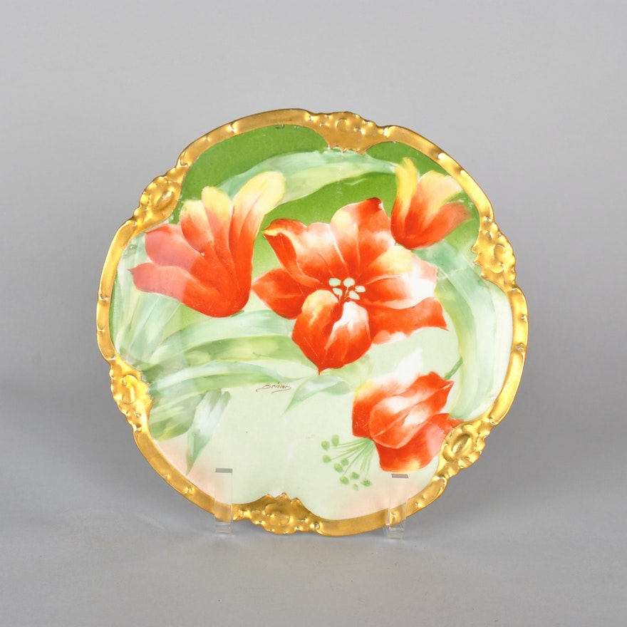 Hand Painted Limoges Coronet Signed Porcelain Plate : EBTH