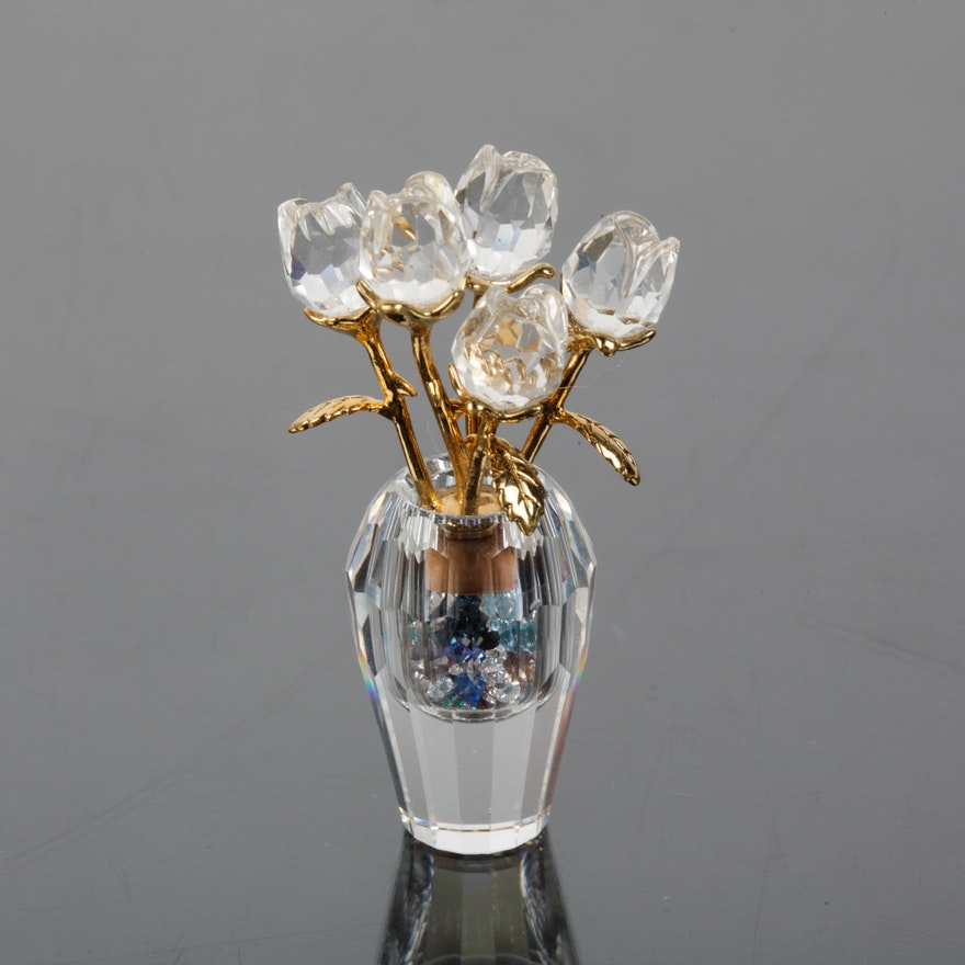 Swarovski Crystal Secrets Rose Vase Vial Ebth