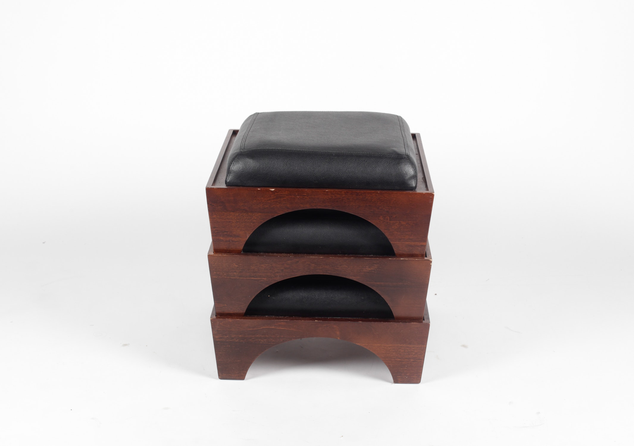 Set Of Three Levenger Stacking Ottomans ...