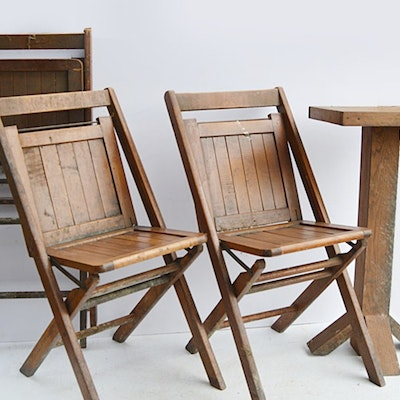 Vintage Wooden Folding Chairs and Arts and Crafts Fern Stand - Vintage Chairs, Antique Chairs And Retro Chairs Auction In Addyston