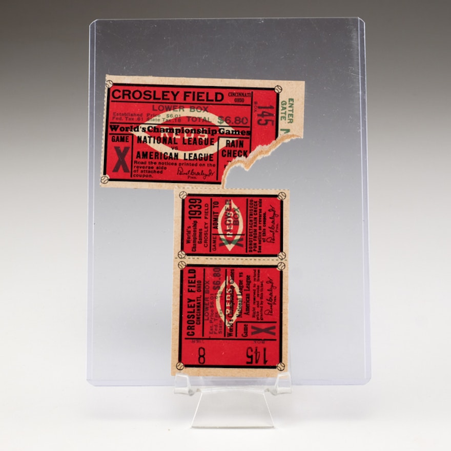 Two 1939 World Series Ticket Stubs