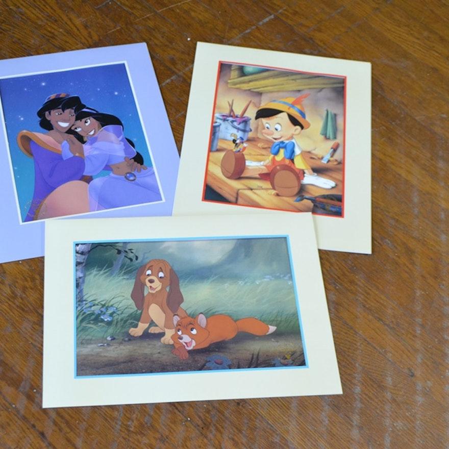 Three Commemorative Walt Disney Movie Lithographic Prints